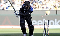 Daniel Vettori is bowled out for New Zealand
