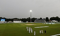 The gloomy scene at Canterbury where only 38 overs of play were possible on day three