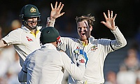 Steve Smith celebrating the dismissal of Alastair Cook on day three of the fifth Ashes Test at The Oval.
