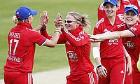 Danielle Hazell and Danielle Wyatt celebrate a wicket
