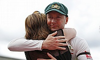 Michael Clarke hugs his mother after playing his final Test match.