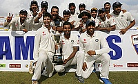 India team celebrate the series victory over Sri Lanka in Colombo.