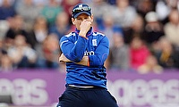 Eoin Morgan gestures during England's 59-run defeat to Australia at The Rose Bowl