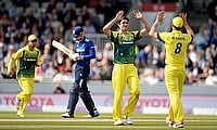 Australia celebrate the wicket of Alex Hales