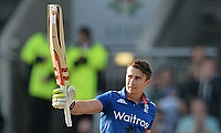 James Taylor celebrating his century against Australia in the third ODI at Old Trafford.