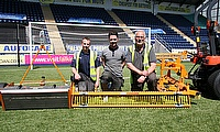 Joe Wallace and his team show off the range of SISIS machinery that is keeping Falkirk FC's pitch in perfect condition