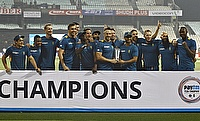 South Africa's players pose with their trophy after winning the Twenty20 international cricket series against India