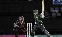Javeria Khan hits out during her innings of 90 as Merissa Aguilleira looks on