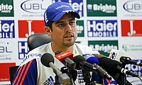 Alastair Cook in a press conference ahead of the second Test against Pakistan in Dubai.
