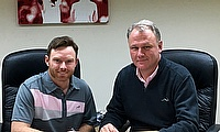Ian Bell, pictured with Woodworm Cricket Chief Executive Officer Simon Millington, as he signs his contract