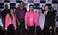 Pooja Jhunjhunwala, Abey Kuruvilla, Sourav Ganguly, Jyoti Saraf at the press conference where Ganguly was unveiled as Libra Legends captain