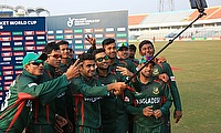 Bangladesh team posing after their win over South Africa in the first game of the ICC U-19 World Cup.