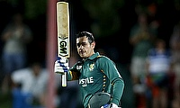 Quinton de Kock celebrating his century in the first ODI in Bloemfontein.