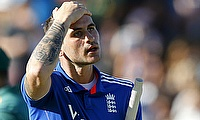 Alex Hales reacts after getting dismissed for 99 in the second ODI against South Africa.