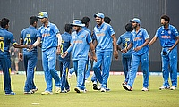 Indian players shaking hands with the Sri Lankan players after the semi-final win.
