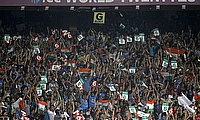 Fans celebrate during the India-Pakistan clash at Eden Gardens, Kolkata