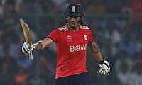 Jason Roy celebrating his fifty in the semi-final against New Zealand in Delhi.