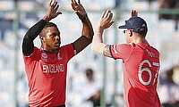 Chris Jordan (left) has been in fine form for England during the ICC World T20
