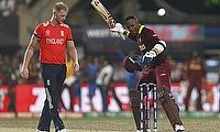 Marlon Samuels (right) celebrating the victory past Ben Stokes (left) in the final of the ICC World T20.