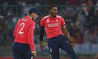Chris Jordan (right) picked six wickets from four matches in the ICC World T20 tournament.