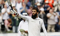 Moeen Ali celebrating his century on day two of the second Test against Sri Lanka.