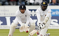 Angelo Mathews (left) in action on day three of the second Test.