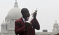 Darren Sammy with the 2016 ICC World T20 trophy