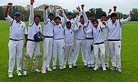St Xavier's Collegiate School players celebrate their victory
