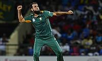 Imran Tahir celebrating his seven-wicket haul against West Indies in St Kitts.