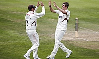 Jamie Overton (right) took five wickets for Somerset