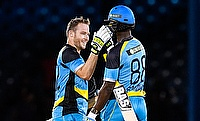 David Miller (left) and Darren Sammy (right) celebrating the win of St Lucia Zouks.