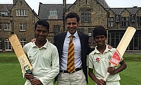 Rupesh (left) and Prajwal (right) with Dr Samir Pathak, Cricket Beyond Boundaries founder
