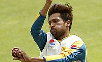 Mohammad Amir in action at the nets ahead of the first Test at Lord's.