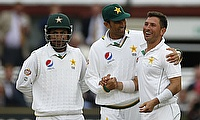 Yasir Shah (right) celebrating the wicket of Moeen Ali on day two.