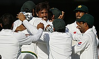 Pakistan players celebrating the victory over England in the first Test at Lord's.