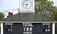 A general shot of the scoreboard and clock at Leicestershire's Grace Road