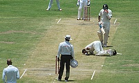 Virat Kohli kisses the ground after scoring his double-century against the West Indies in Antigua