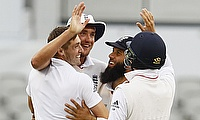 England players celebrating the victory at Old Trafford.