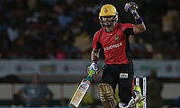 Umar Akmal celebrating the victory over the St Lucia Zouks at Darren Sammy National Stadium.