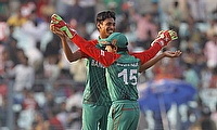 Mustafizue Rahman celebrates a wicket