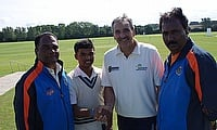Pranav Dhanawade (second from left) has been working on his game at the City Cricket Academy in Leicester
