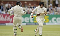 Tom Latham (right) and Martin Guptill (left) added 169 runs for the opening wicket.