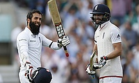 Moeen Ali (left) celebrating his century on day one of the fourth Test.