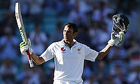 Younis Khan celebrating his century on the second day of the fourth Test.