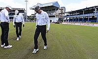 Umpires inspecting the conditions on day two of the second Test.