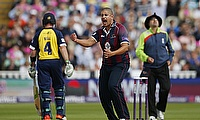 Rory Kleinveldt (centre) picked a five-wicket haul for Northamptonshire