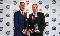 Tim Chambers receiving the Hardys Heartbeat of the Club Award