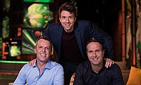 BT Sport cricket presenter (centre) with experts Grame Swann (left) and Michael Vaughan (right)