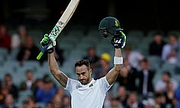 Faf du Plessis celebrating his century in the third Test in Adelaide