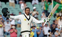 Usman Khawaja celebrating his century in the third Test against South Africa in Adelaide